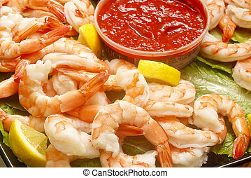 Jumbo Cooked Shrimp with Cocktail Sauce and Lemon Wedges - A...