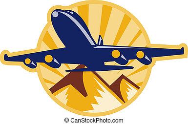 jumbo jet airplane flying with mountains - illustration of a...