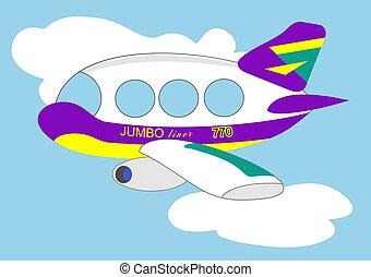 Cartoon style jumbo jet.
