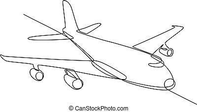 jumbo-jet, eben, verkehrsflugzeug, kontinuierlich, linie