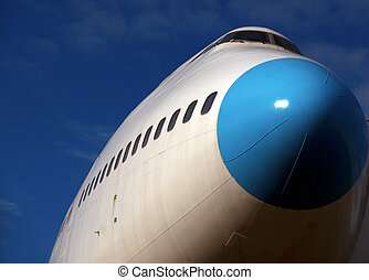 Jumbo jet - Low angle view of jumbo jet ready for takeoff