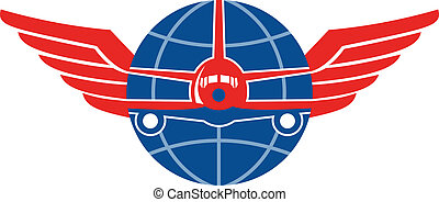 Illustration of a jumbo jet airplane plane viewed from front with wings and globe on isolated white background.