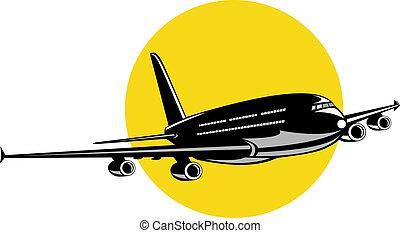 Jumbo jet plane in flight - Illustration on air travel and ...