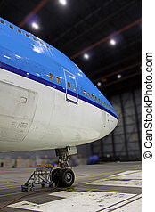 jumbo nose inside hangar