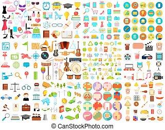 jumbo, plat, verzameling, pictogram