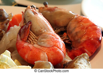 Jumbo prawns - Fresh steamed jumbo prawns seafood shellfish...