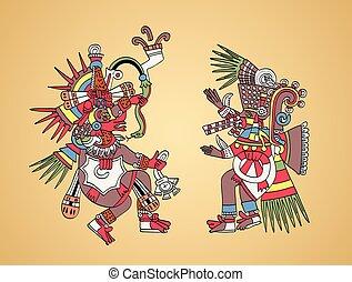 jumeau, dieux, quetzalcoatl, tezcatlipoca, frères, aztèque