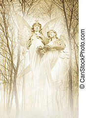 jumeau, forêt, anges