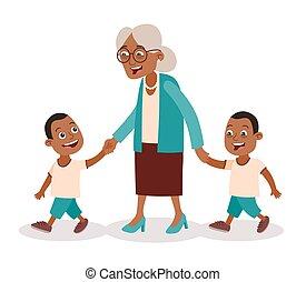 jumeaux, grand-mère, marche, petits-enfants