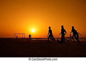 jumeira, futebol, dubai, amadores, praia, tocando