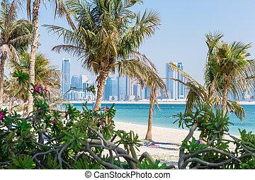 jumeirah, 바닷가, 공원, 에서, dubai