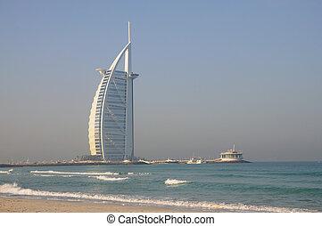 Jumeirah Beach and Hotel Burj Al Arab in Dubai, United Arab...