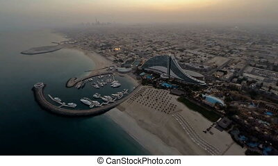 Jumeirah Beach near Burj Al Arab hotel in Dubai, UAE....