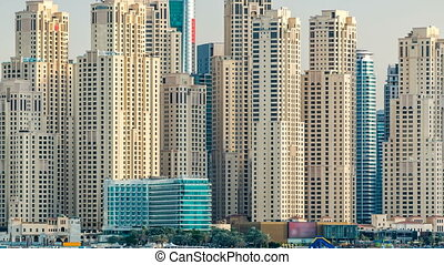 Jumeirah Beach Residence as seen from the palm jumeirah with...