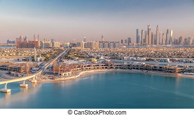 Jumeirah Palm island skyline timelapse in Dubai, UAE.