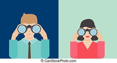 jumelles, femme affaires, tenue, homme affaires