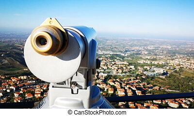 jumelles, panorama, touriste, télescope