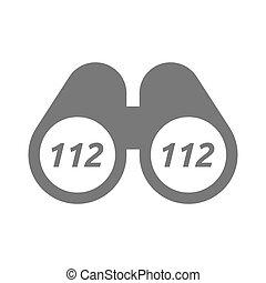jumelles, texte, isolé, 112