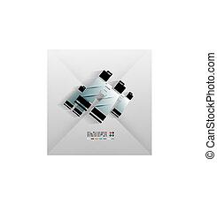 jumelles, vecteur, conception, papier, icône, 3d