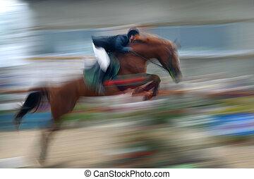 jump a horse through the barrier
