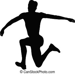 jump athlete in triple jump black silhouette