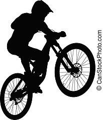 jump athlete rider mtb downhill black silhouette