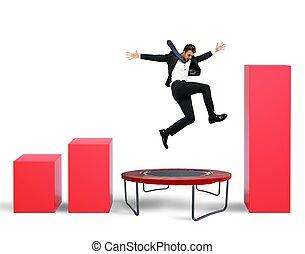 Jump between statistics - Businessman jumps on the ...