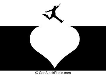 Jump - Illustration of the person which jumps through heart