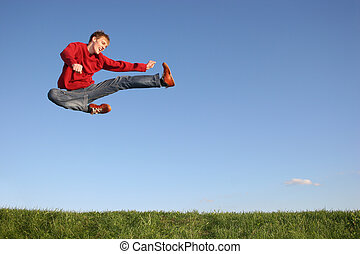 jump figth man
