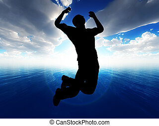 Jump For Joy - A male figure jumping with a ocean...