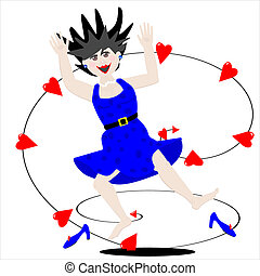 Jump for Joy - Cartoon illustration of a young lady that has...