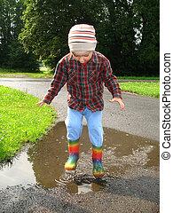 Jump for joy - Little boy jumping in a splash