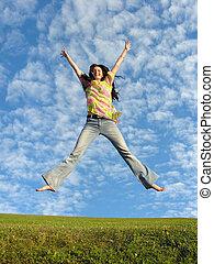 jump girl with hair on sky 2 - jump girl with hair under...