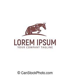 jump horse logo. vintage design concept template