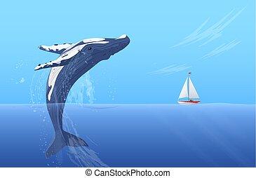 Jump humpback big huge whale near small boat ship yacht. Hidden ocean power.