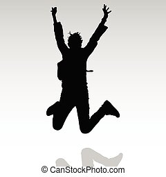 jump in the air vector people silhouette