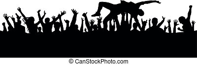 Jump into the crowd. A man leaps into his arms in a crowd of people silhouette