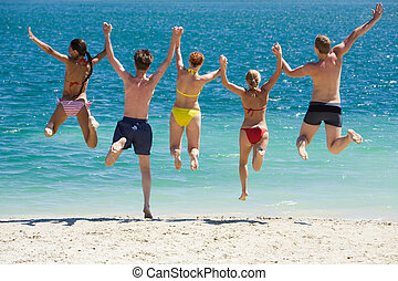 Jump into the lake - Portrait of five teens jumping into...