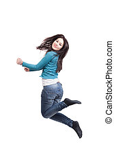 Jump of happy joyful young woman