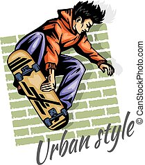 Jump on a skateboard -  vector color illustration