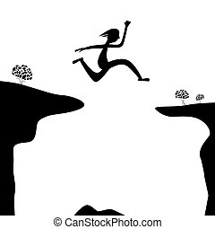 Jump Over Abyss - Jumping Man or Woman Silhouette on White Background