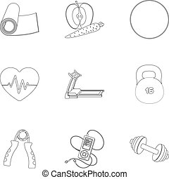 Jump rope, ball, scales other items for health.Gym And Workout set collection icons in outline style vector symbol stock illustration web.