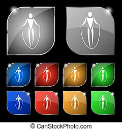 jump rope icon sign. Set of ten colorful buttons with glare. Vector
