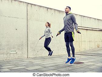 jump-rope, kvinna, exercerande, man, utomhus