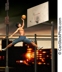 Jump Shot - Muscular young man, practicing basketball,...