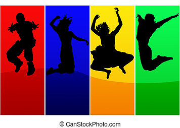 Jump - Silhouettes of jumping people over colored background...