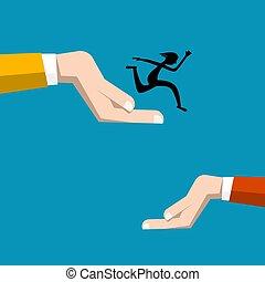 Jump Symbol with Human Hands Vector Flat Design Symbol. Jumping Man Silhouette.