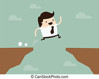 Jump - businessman jump through the gap