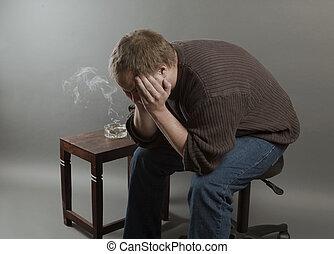 jumper, chão, antigas, sendo, desempregado, jovem, triste,...