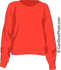 Jumper red realistic vector illustration isolated